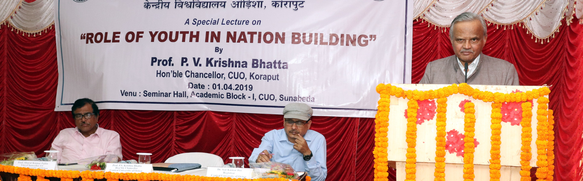 HON'BLE CHANCELLOR, PROF. P. V. KRISHNA BHATTA ADDRESSED ON ROLE OF YOUTH IN NATION BUILDING