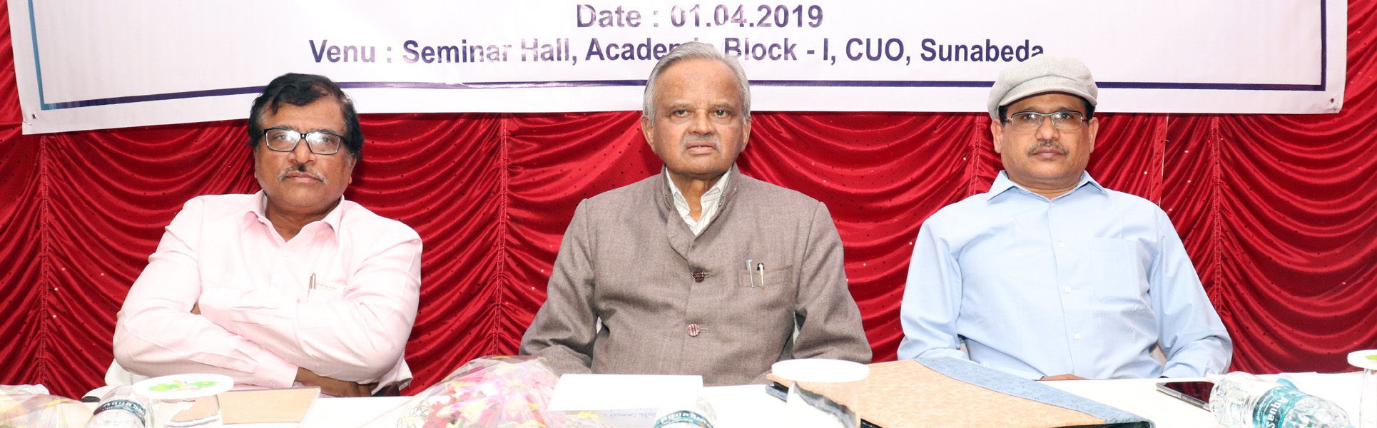 GUESTS ON DAIS PROF. P. V. KRISHNA BHATTA, HON'BLE CHANCELLOR, CUO; PROF. S. K. PALITA, HON'BLE VICE-CHANCELLOR I/C., CUO AND PROF. ASIT KUMAR DAS, REGISTRAR, CUO
