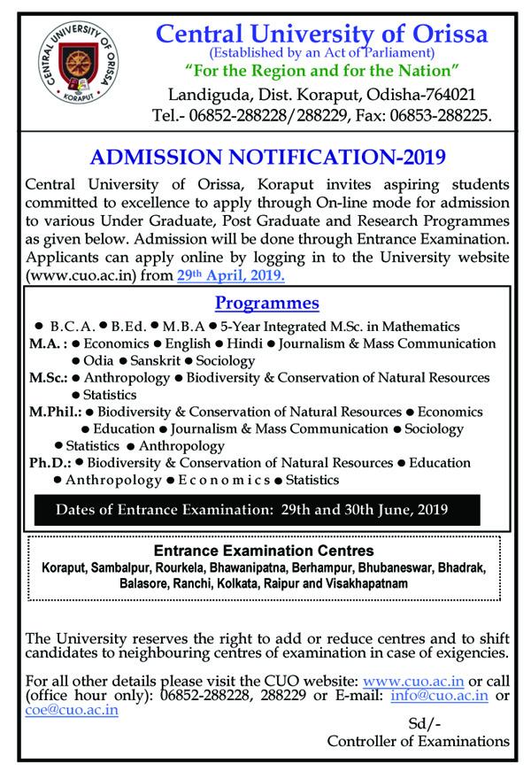 Welcome to Central University Of Odisha, Koraput